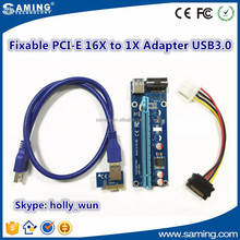 Fixable PCI-E 1x to 16x Mining Machine Enhanced Extender Riser card x1 to x16 with USB 3.0 & SATA Power Cable