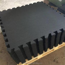Pure black rubber interlock tile for commercial gym