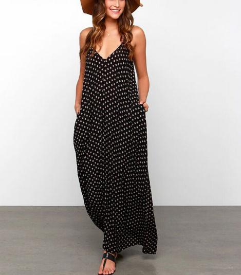 Hot sale new designed style summer v neck point woman long maxi dress