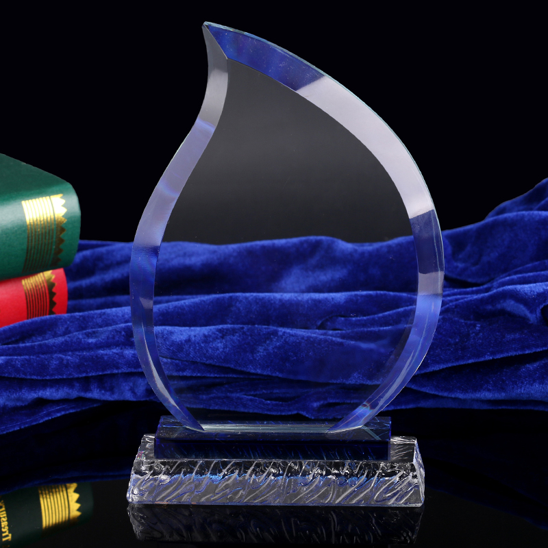 Customized Sandblasting Clear Glass Flame Shape Crystal Plate Trophy Award For Souvenir Gift.