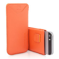 Snugg case for iPhone 5 Pouch Case in Orange Leather