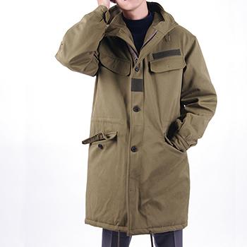 Dongguan 2017 men's long thin coat city street fashion drawstring waist hooded jacket