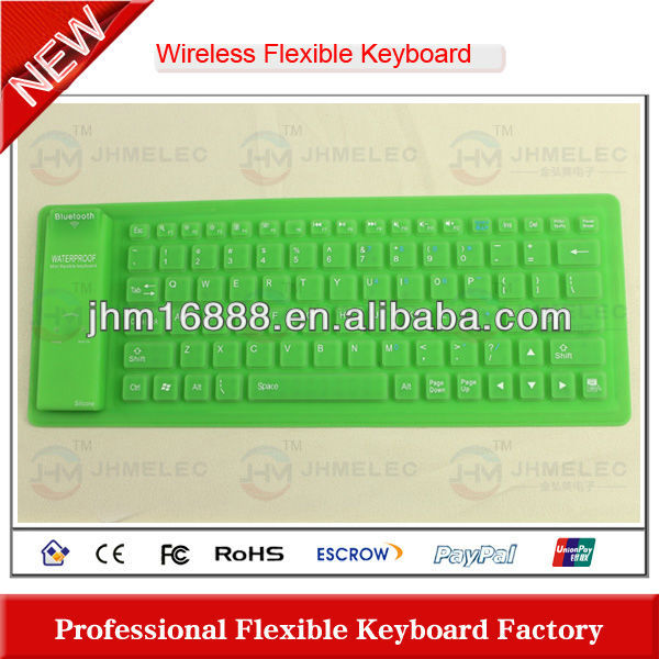 flexible silicon rubber bluetooth keyboard for mini ipad