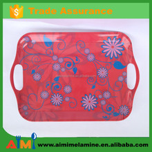colorful flower design 100% melamine tray with handle
