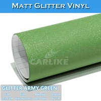 Bubble Free 1.52mx30M Glitter Army Green Adhesive Jaguar Car Stickers