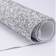 Luxury silver chunky glitter fabric for shoes and wallpaper