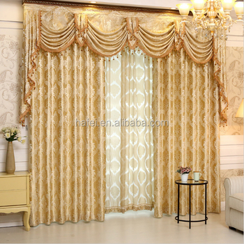 Luxury jacquard european style 108 inch living room curtains