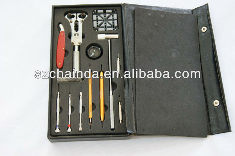 12 pcs Watch Repair Tool Kit w/ Molded Insert Case Pin/Link/Battery Replacement