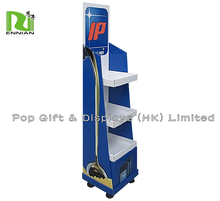 Hotsale moveable metal cardboard display stand with wheels for retail