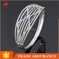 New style indian zircon bangles white gold plated blue zircon bangle 925 silver women Clasp bangle