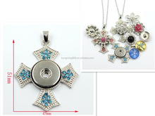 Popular 43MM Silver Jewelry Cross Shaped Pendant With Snap Button Wholesale