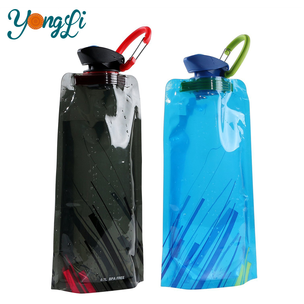 Wholesale BPA Free Food Grade 700ML Portable Reusable Water Bag Collapsible Water Bottle
