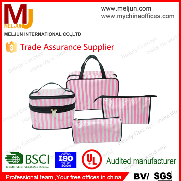 2018 Spring Fashion Luxury Cosmetic Bags Pink Strips for Laidis Make Up