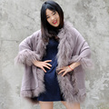 CX-B-P-01C Mongolian Lamb Fur Trim Cashmere Fur Cape