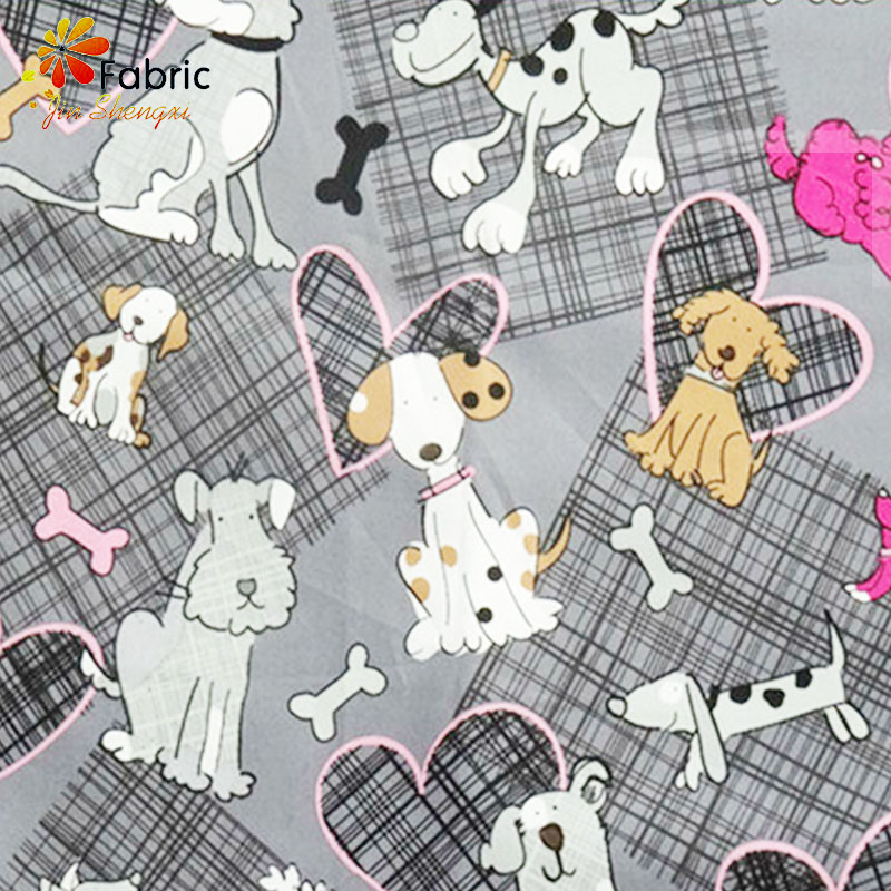 High quality lovely dogs printed cheap price 100 quilted cotton organic textile factory sale manufacturers