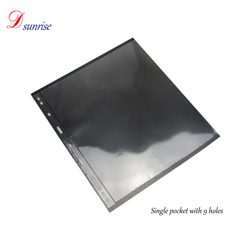 Black 1 2 3 4 5 6 7 lines money album currency collections pages clear pvc sheets for coin albums with 9 holes fit 3 4 rings