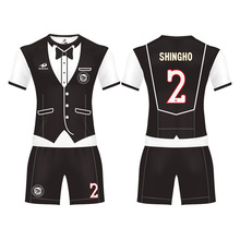 Cheap custom printing t shirt outfit teamwear sport suit black soccer jersey set football kit Clothes