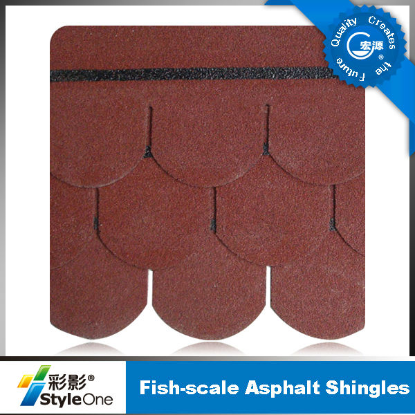 3-tab/Laminated/fish scale tile red roof shingles