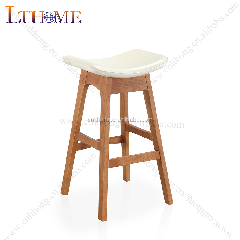 B503 Solid wood base bar chair <strong>leather</strong>