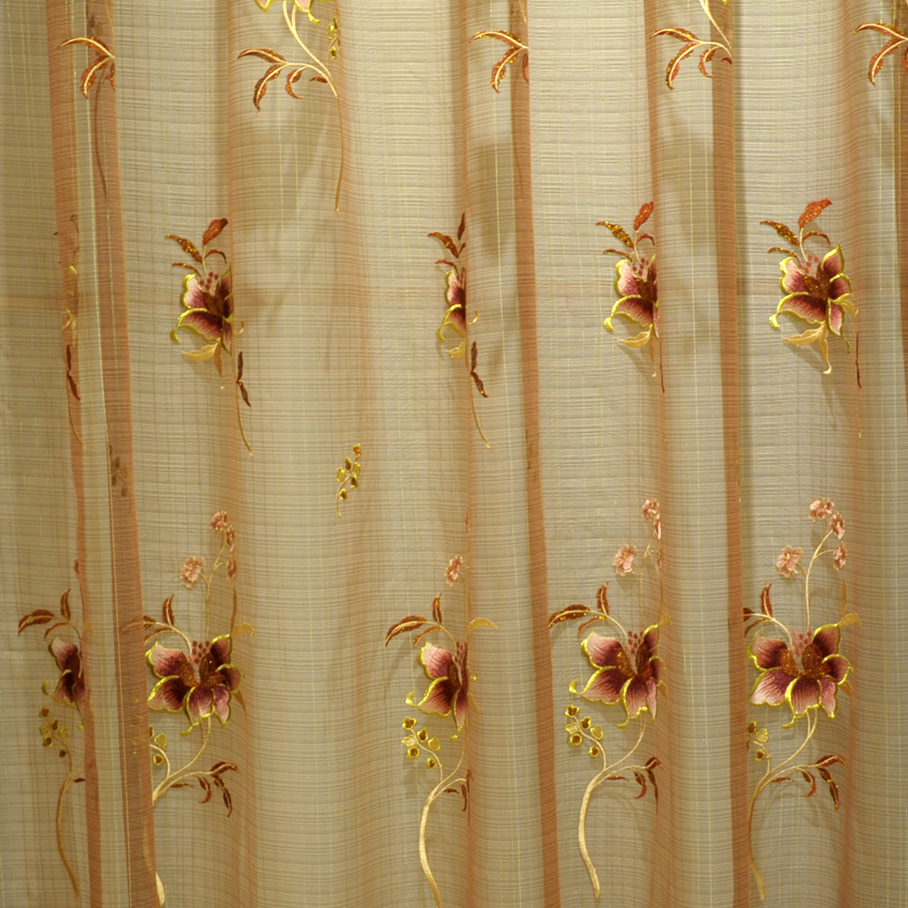 classical pattern of embroidered sheer tulle fabric for curtain S261308