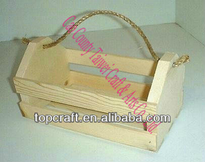 Wood Tote Crate slatted wooden crate with rope handle for sale