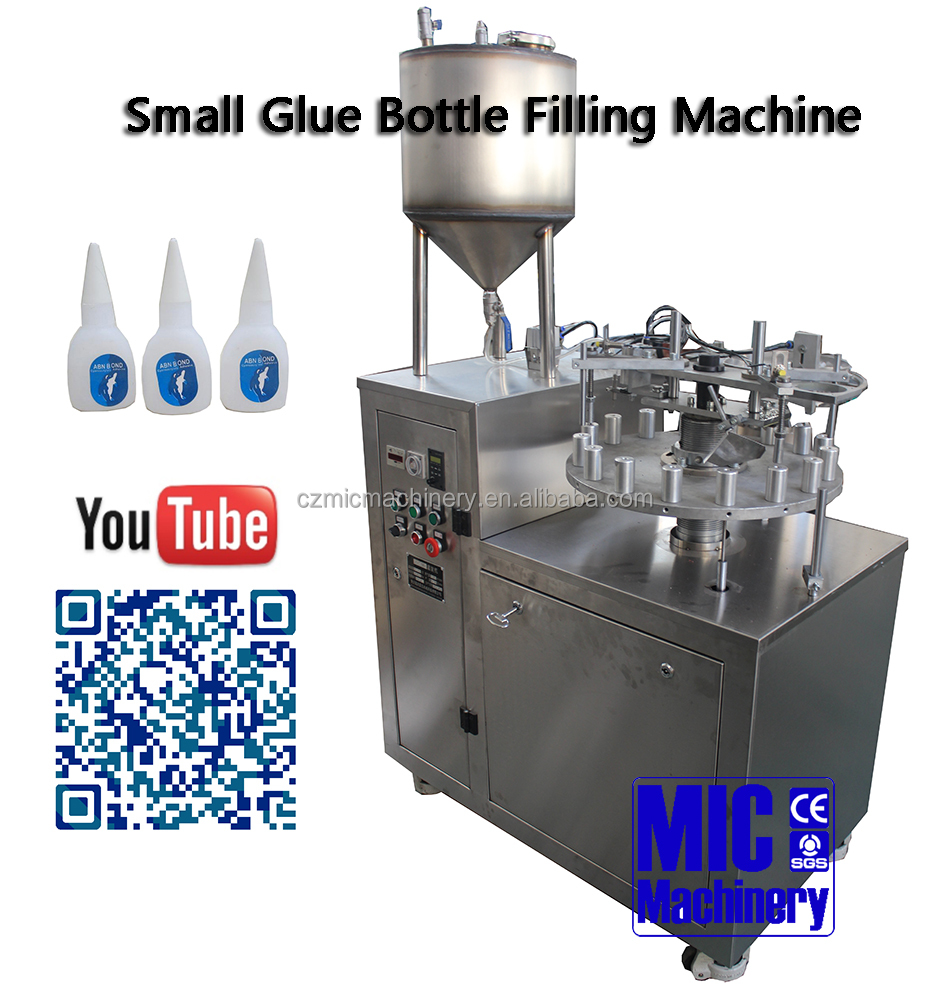 MIC Machinery Wide application Full Automatic machine for 502 cyanoacrylate adhesive ,super glue Filling and Capping Machines
