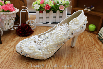 The wedding is high with white women's shoes lace water and pearl waterproof platform the elegant bridal shoes WS011