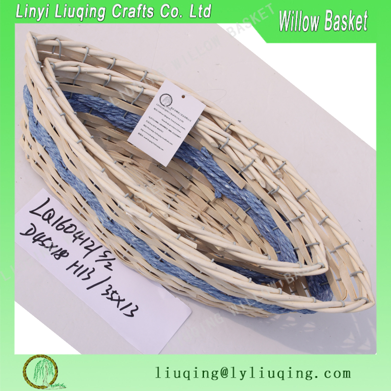 fancy boat shaped wicker gift basket
