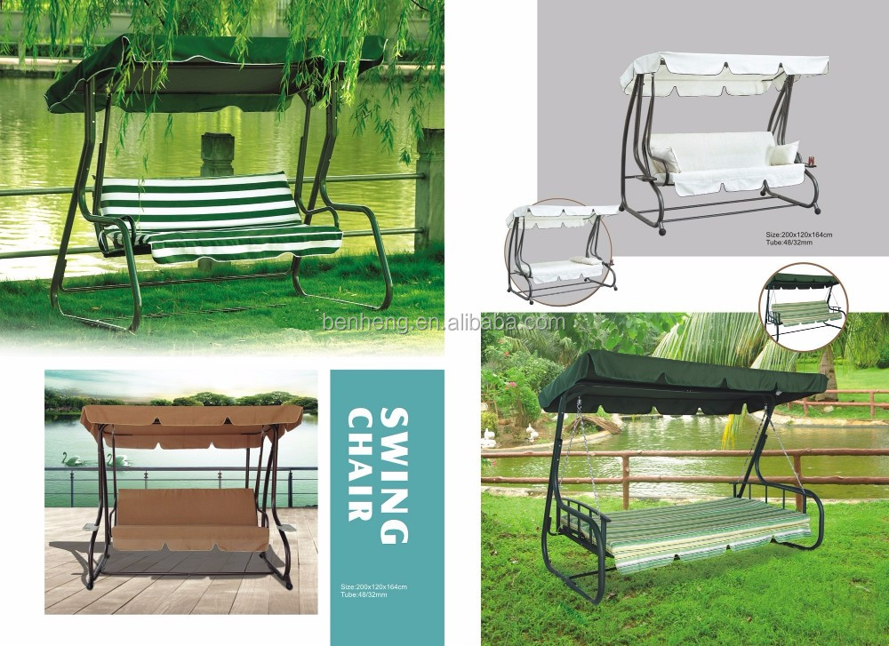 Outdoor Swing Chair 3 Seats Porch Patio PE Wicker Swings with Steel Powder Coated Frame