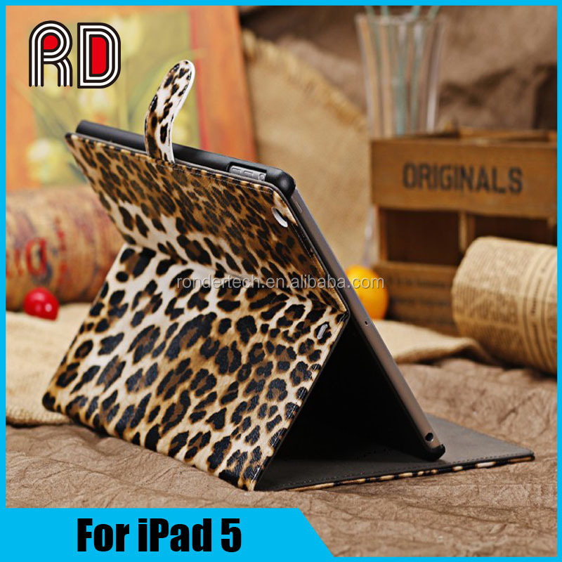 Magnetic Auto Wake Up Sleep Flip Tiger Case for new ipad 5 Cover with Smart Stand Holder