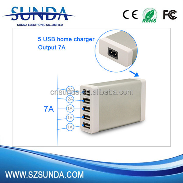 Hot selling new products for 2016 5 USB Port AC Wall Travel Charger 5V 7A output Power Adapter