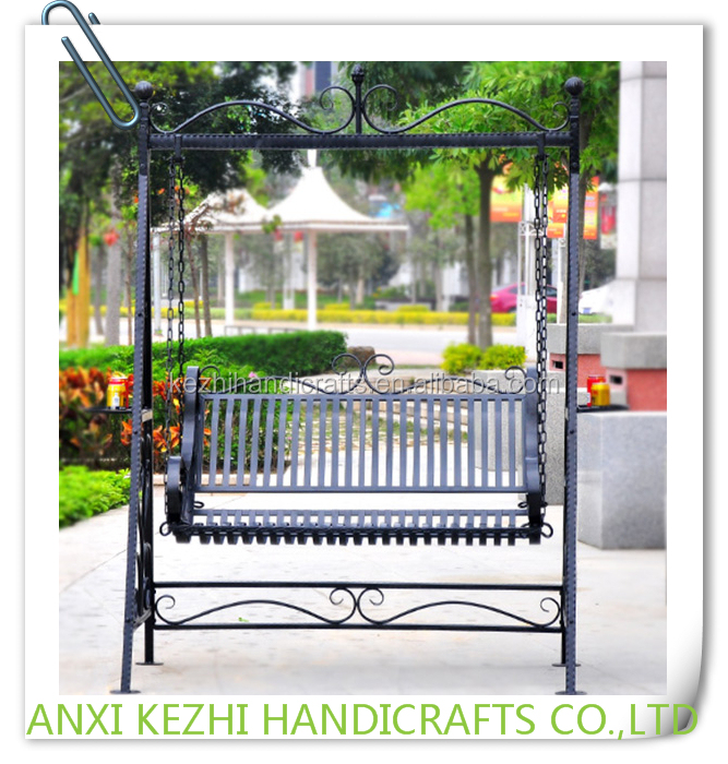 KZ140127 Metal Outdoor Patio Garden Backyard Coffee Shop Double Seats Swing