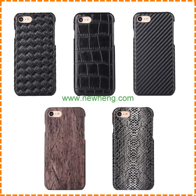 New Arrival!!!Wood/ Snake/Weave/Carbon Fiber/Crocodile Pattern Leather Back Case for iPhone 7