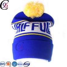 Chengxing custom cheap winter outdoor woven crochet jacquard printed ski quality spandex acrylic knitted pom beanie hat