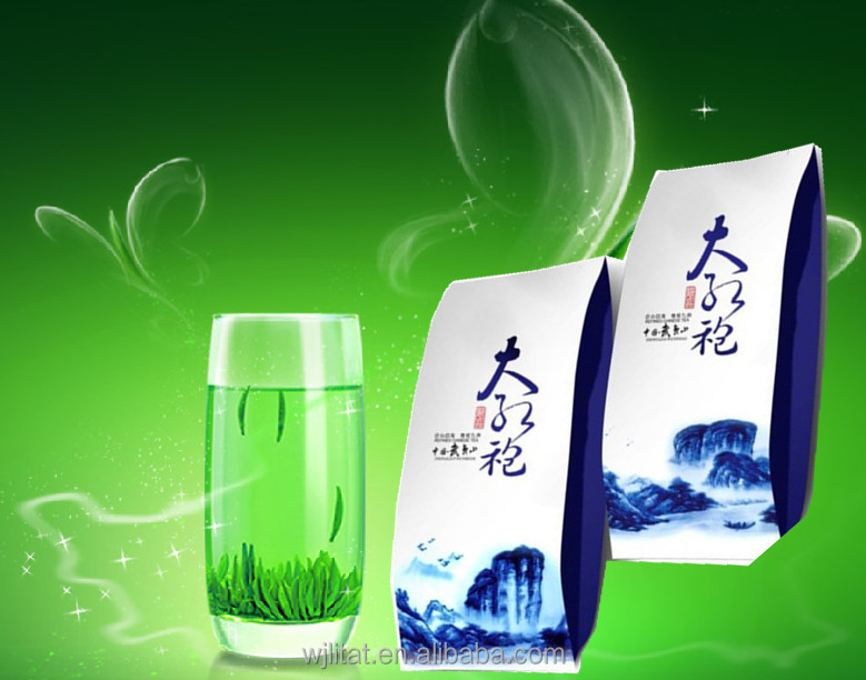 custom printed laminated ziplock stand up green tea bag