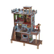 Happy family play kids wooden fairy doll house dolls toy furniture set