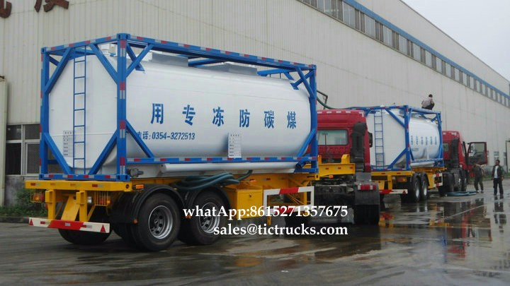 Portable iso Tank Container 20000L-24000LSolvents, antifreeze Ethylene glyco tank sale