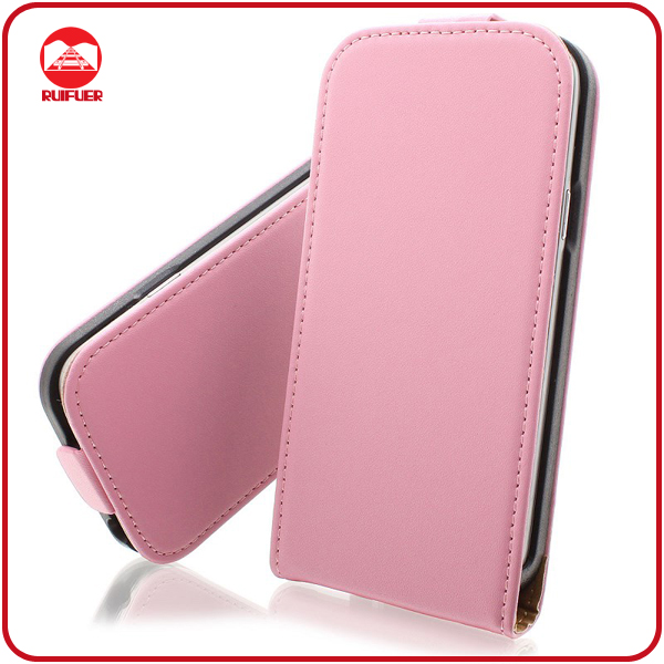 Funky Pink 100% Real Genuine Leather Protective Magnetic Flip S4 Phone Case