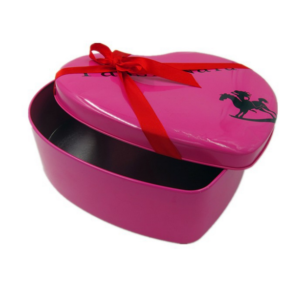 Romantic Heart Shaped Chocolate Gift Tin Box High Quality Heart Shaped Cookie Tin Box Buscuit Tin Box