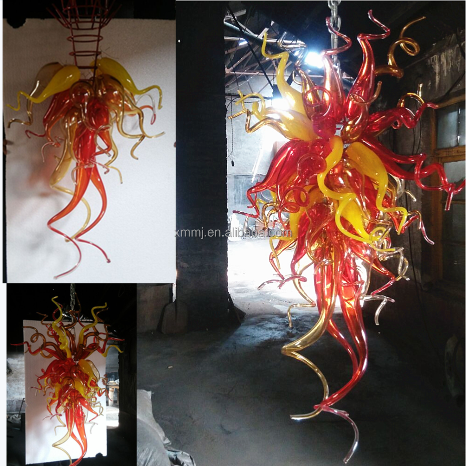 Italian style <strong>modern</strong> hand blown mixed red yellow art murano glass chandelier lights