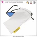 custom white microfiber eyeglasses pouch with woven label