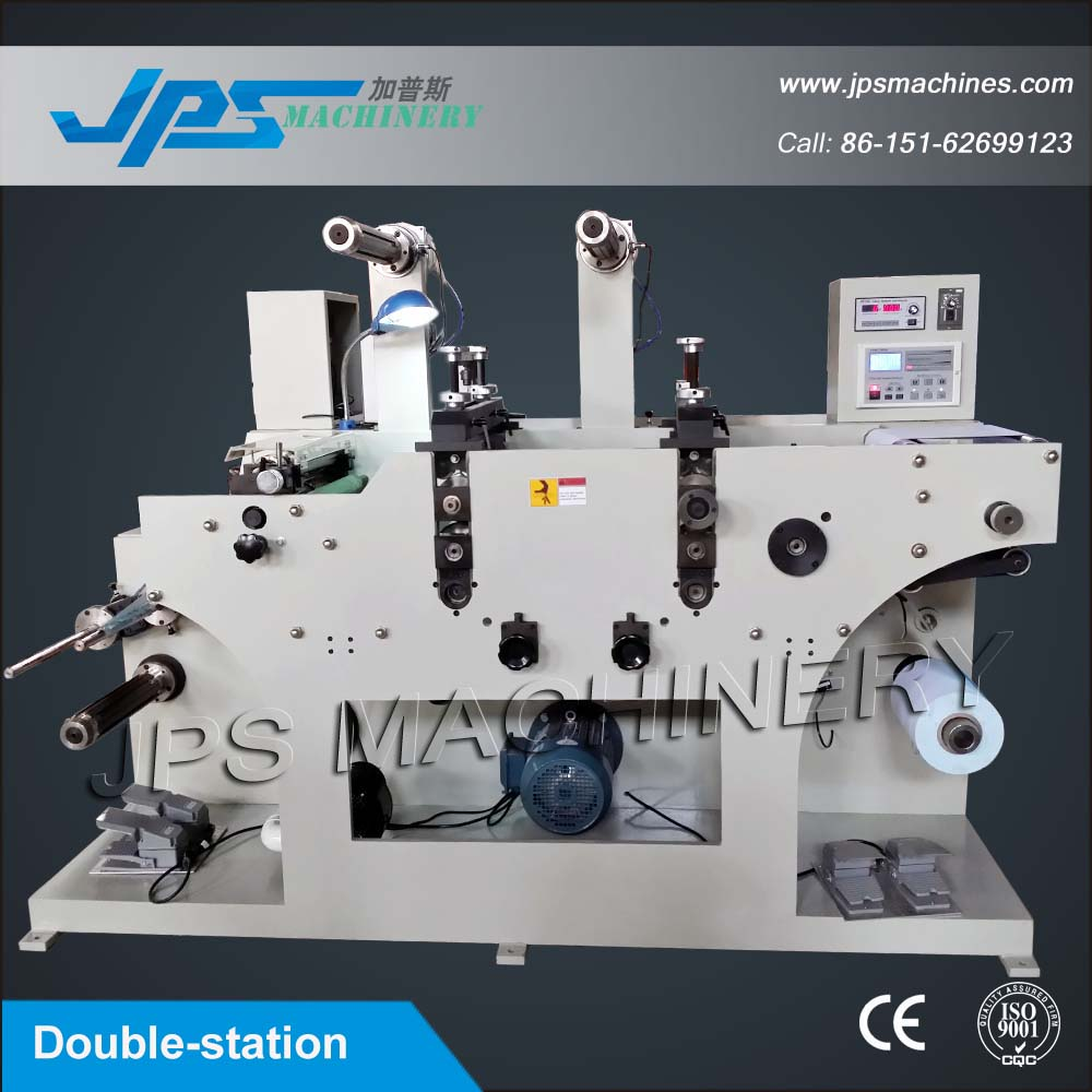 JPS-320C-TR Two-head Price Gun Label Slitter & Rotary Die Cutter Machine With Turret Rewinder