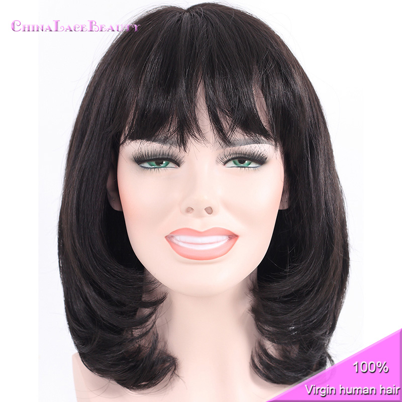 Machine Made Straight Bob Human Hair Wigs Lace Front Short With Bangs