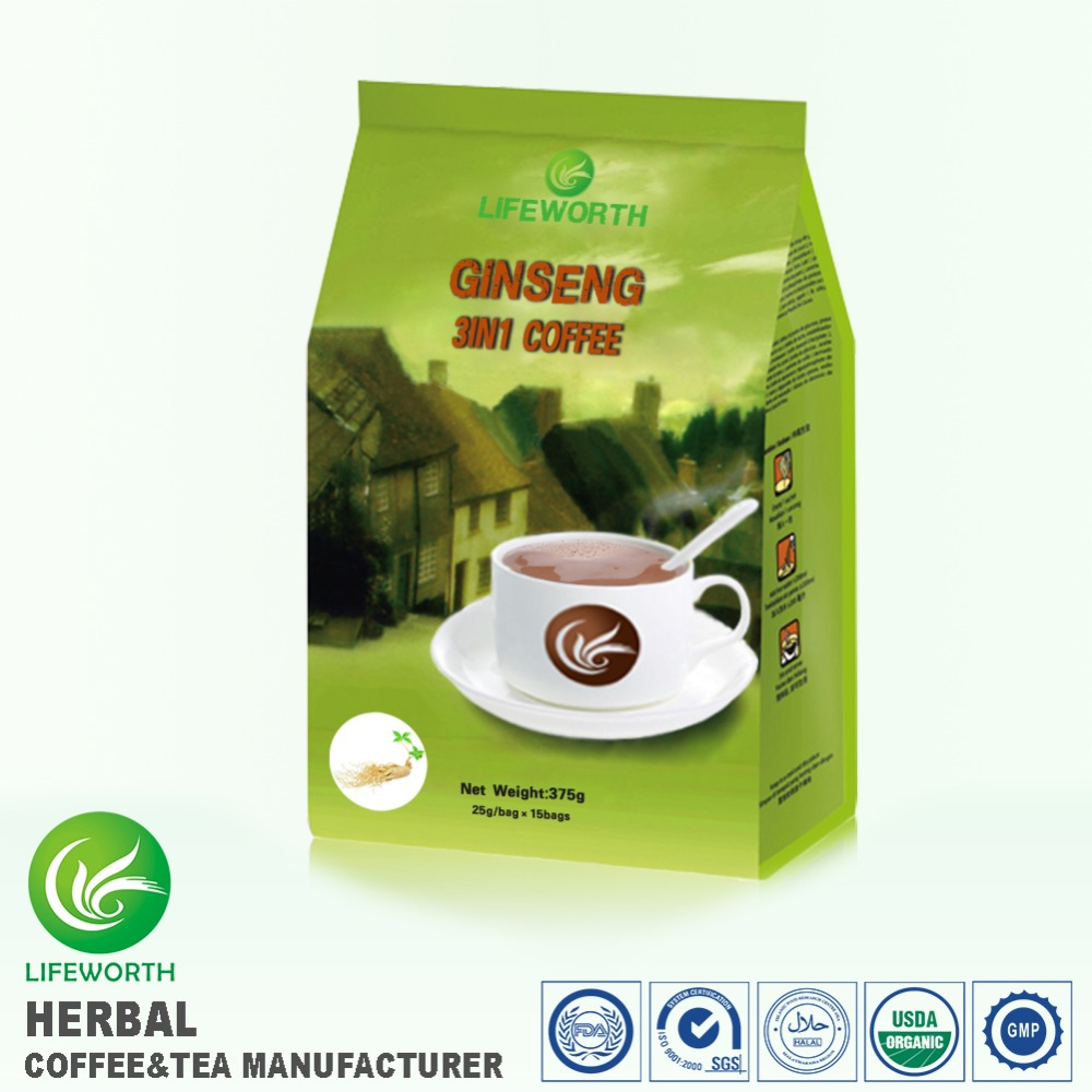 Lifeworth FDA manufacturer instant 3 in 1 ginseng coffee for male and female reproductive system