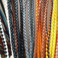 Genuine Braided Flat Leather Cord for bracelet jewelry