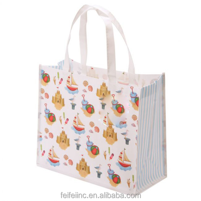 Reusable lamination shopping tote bag, fancy design shopping tote bag