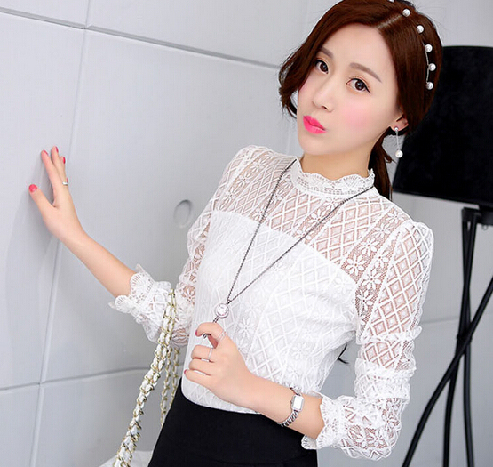d71852h 2015 autumn lace shirt bubble sleeve long sleeved women tops and blouses for women