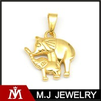 Gold Plated Jewelry Stainless Steel Elephant Charm Pendant Women