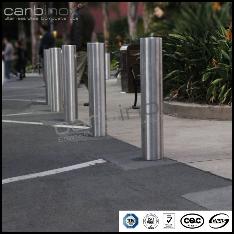 carbinox tubes circular base plate159mm diameter safety bollard with 4mm total height