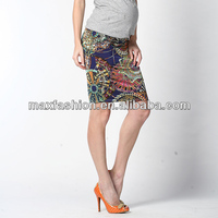 Elegant print floral chiffon different short dress styles maternity skirt by China supplier